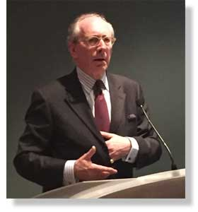 Sir Malcolm Rifkind delivering the 2015 Sir Harry Brittain Memorial Lecture.
